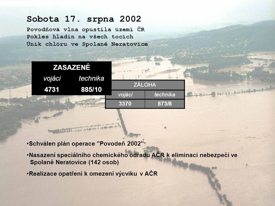 Sobota 17. srpna 2002 ZASAZENÉ vojáci technika 4731 885/10