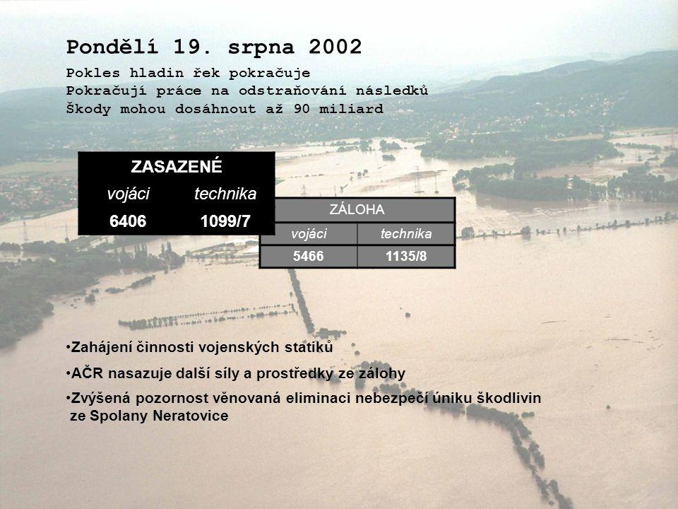 Pondělí 19. srpna 2002 ZASAZENÉ vojáci technika 6406 1099/7