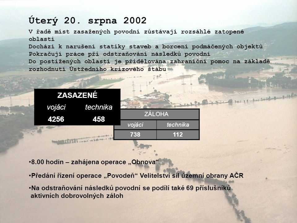 Úterý 20. srpna 2002 ZASAZENÉ vojáci technika 4256 458