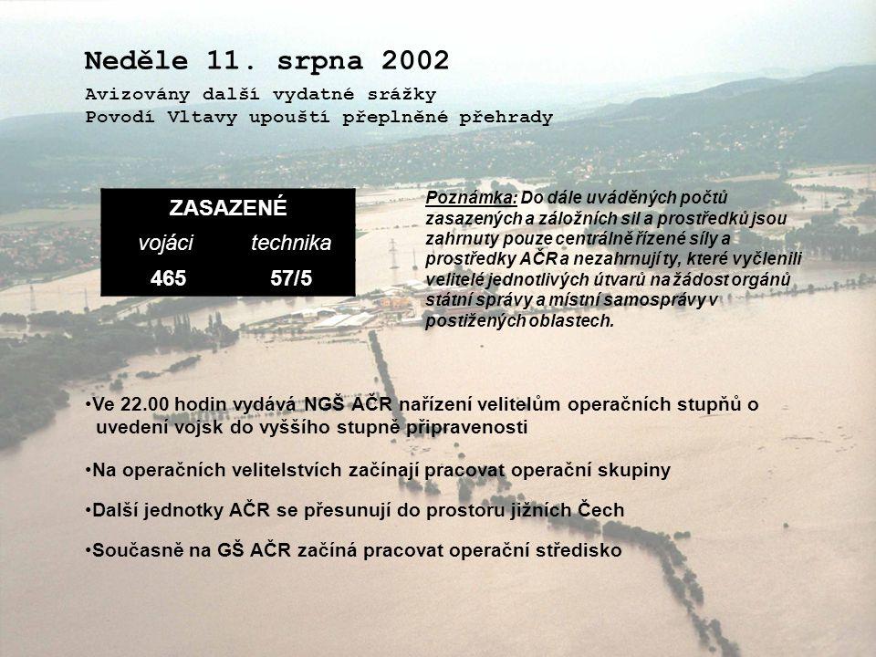 Neděle 11. srpna 2002 ZASAZENÉ vojáci technika 465 57/5