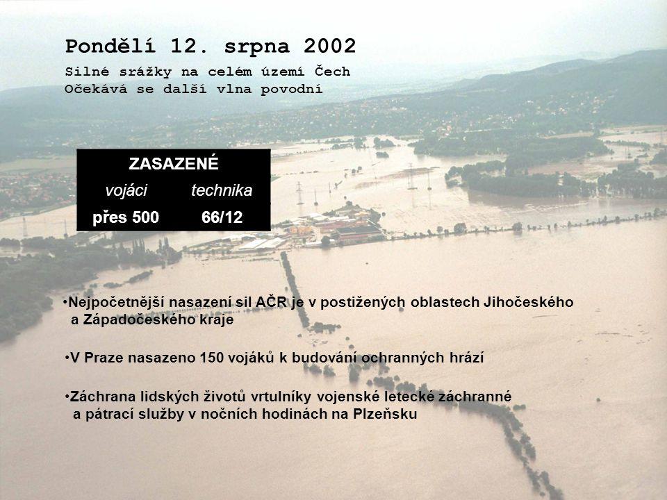 Pondělí 12. srpna 2002 ZASAZENÉ vojáci technika přes 500 66/12