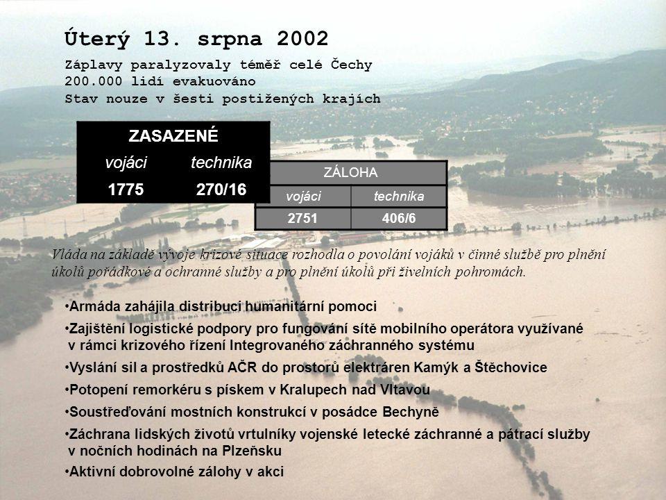 Úterý 13. srpna 2002 ZASAZENÉ vojáci technika 1775 270/16