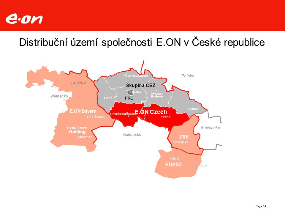 Distribuční území společnosti E.ON v České republice