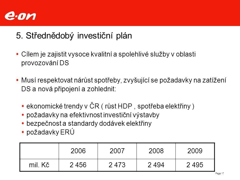5. Střednědobý investiční plán