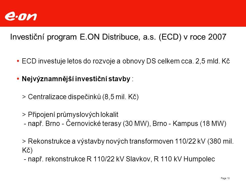 Investiční program E.ON Distribuce, a.s. (ECD) v roce 2007