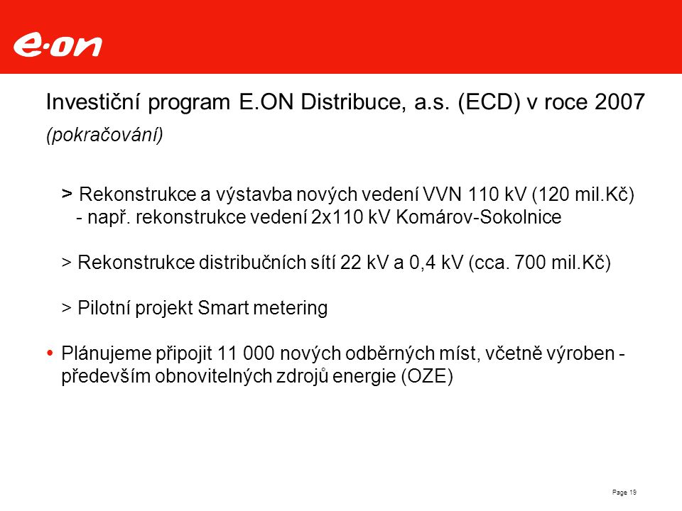 Investiční program E. ON Distribuce, a. s