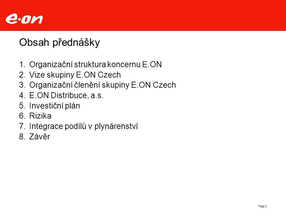 Obsah přednášky Organizační struktura koncernu E.ON