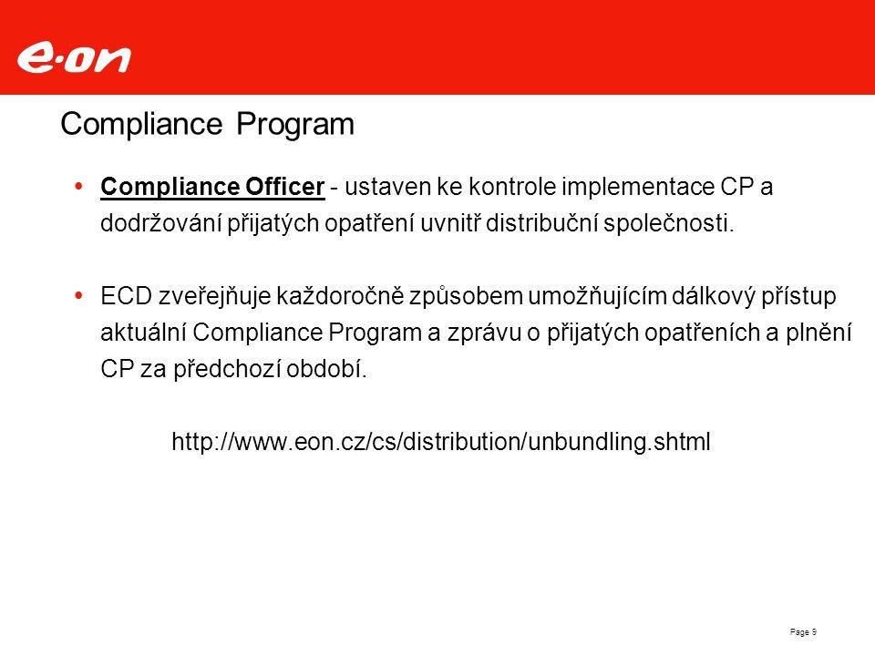 Compliance Program Compliance Officer - ustaven ke kontrole implementace CP a dodržování přijatých opatření uvnitř distribuční společnosti.
