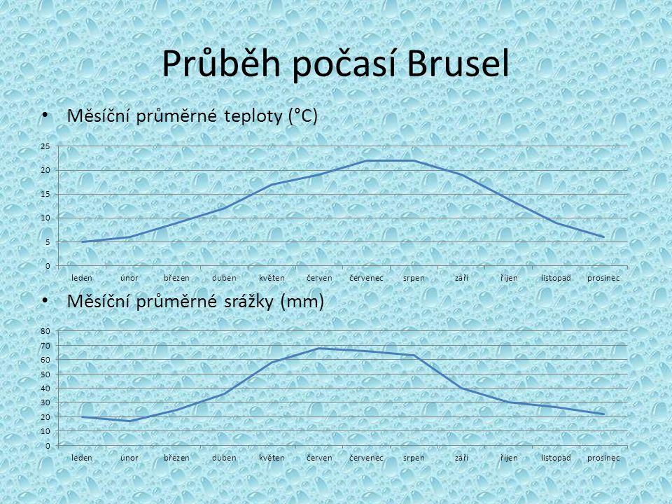 Průběh počasí Brusel Měsíční průměrné teploty (°C)