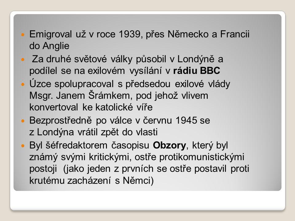Emigroval už v roce 1939, přes Německo a Francii do Anglie