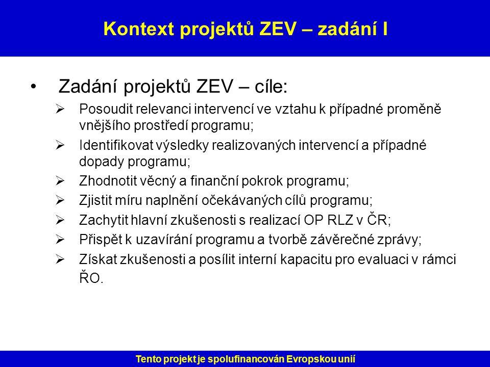 Kontext projektů ZEV – zadání I