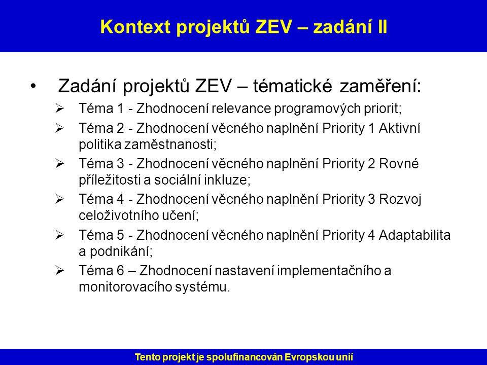 Kontext projektů ZEV – zadání II