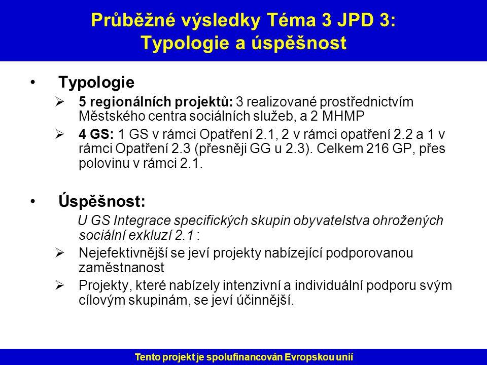 Průběžné výsledky Téma 3 JPD 3: Typologie a úspěšnost