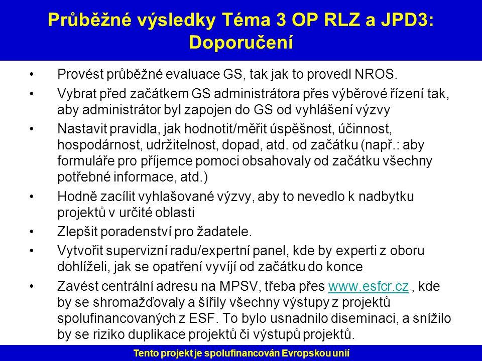 Průběžné výsledky Téma 3 OP RLZ a JPD3: Doporučení
