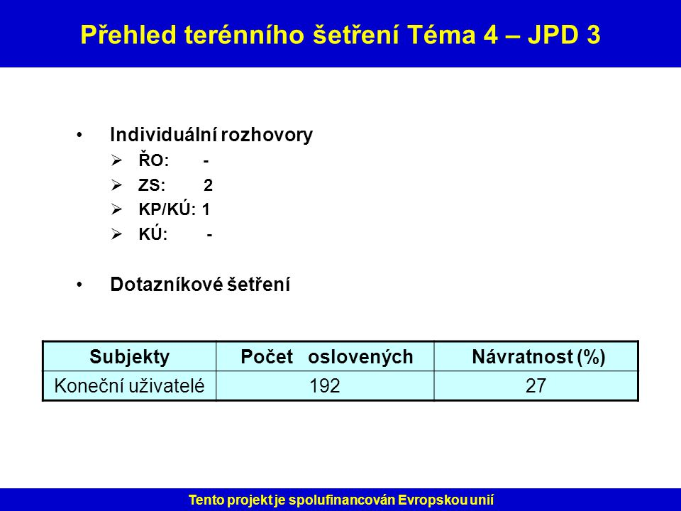 Přehled terénního šetření Téma 4 – JPD 3
