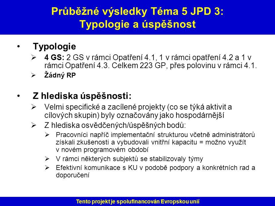 Průběžné výsledky Téma 5 JPD 3: Typologie a úspěšnost