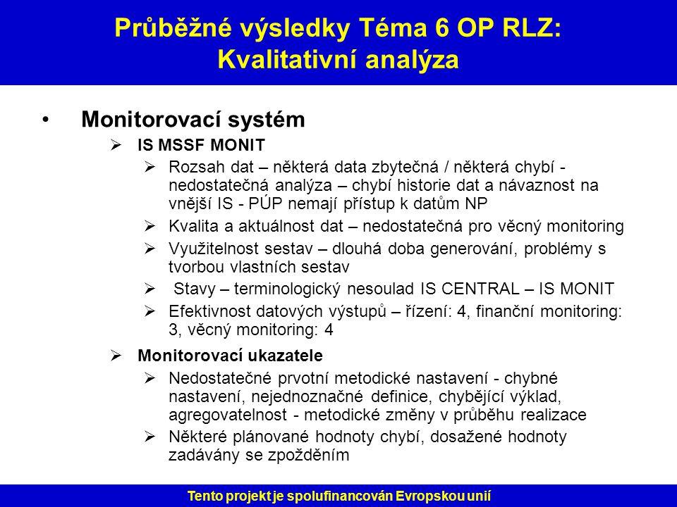 Průběžné výsledky Téma 6 OP RLZ: Kvalitativní analýza
