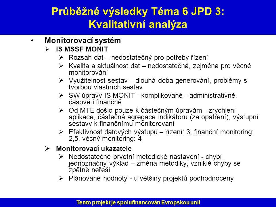 Průběžné výsledky Téma 6 JPD 3: Kvalitativní analýza