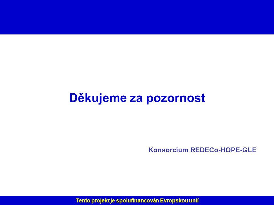Děkujeme za pozornost Konsorcium REDECo-HOPE-GLE