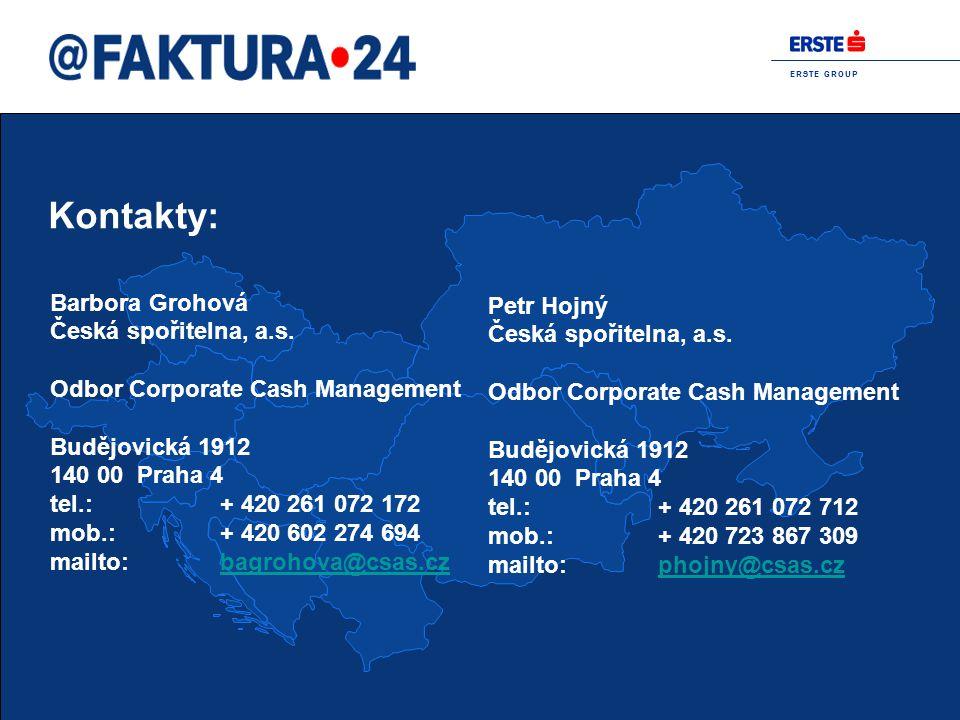Kontakty: Barbora Grohová Petr Hojný Česká spořitelna, a.s.