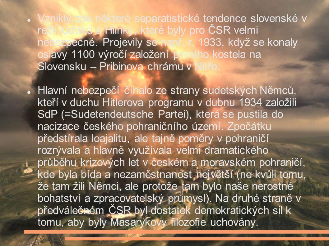Vznikly zde některé separatistické tendence slovenské v režii luďáků a Hlinky, které byly pro ČSR velmi nebezpečné. Projevily se např. r. 1933, když se konaly oslavy 1100 výročí založení prvního kostela na Slovensku – Pribinova chrámu v Nitře.