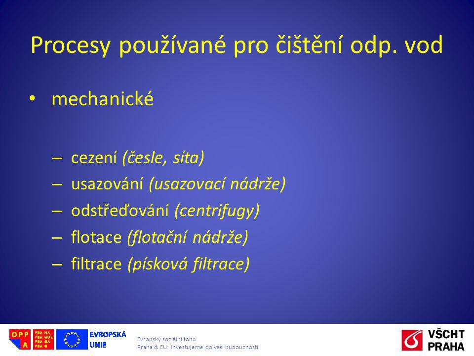 Procesy používané pro čištění odp. vod