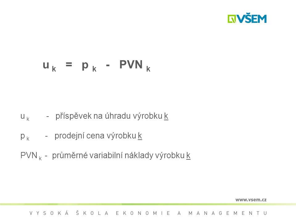 u k = p k - PVN k u k - příspěvek na úhradu výrobku k p k - prodejní cena výrobku k PVN k - průměrné variabilní náklady výrobku k
