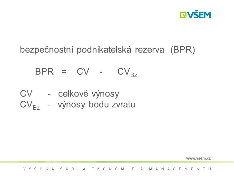 bezpečnostní podnikatelská rezerva (BPR) BPR = CV - CVBz CV - celkové výnosy CVBz - výnosy bodu zvratu