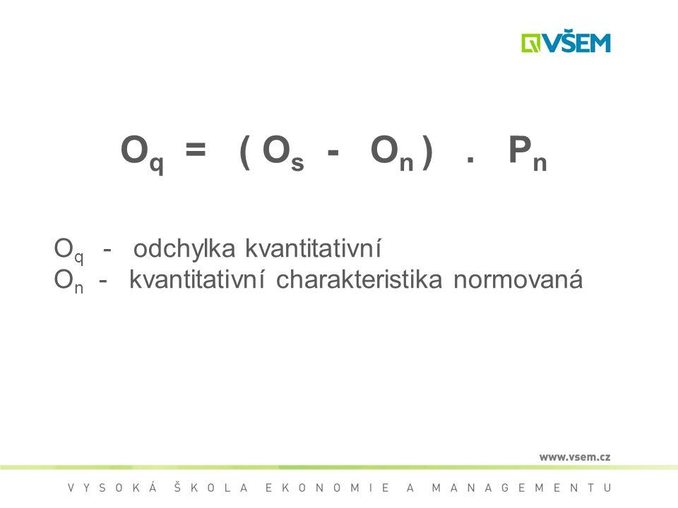 Oq = ( Os - On ) . Pn Oq - odchylka kvantitativní On - kvantitativní charakteristika normovaná