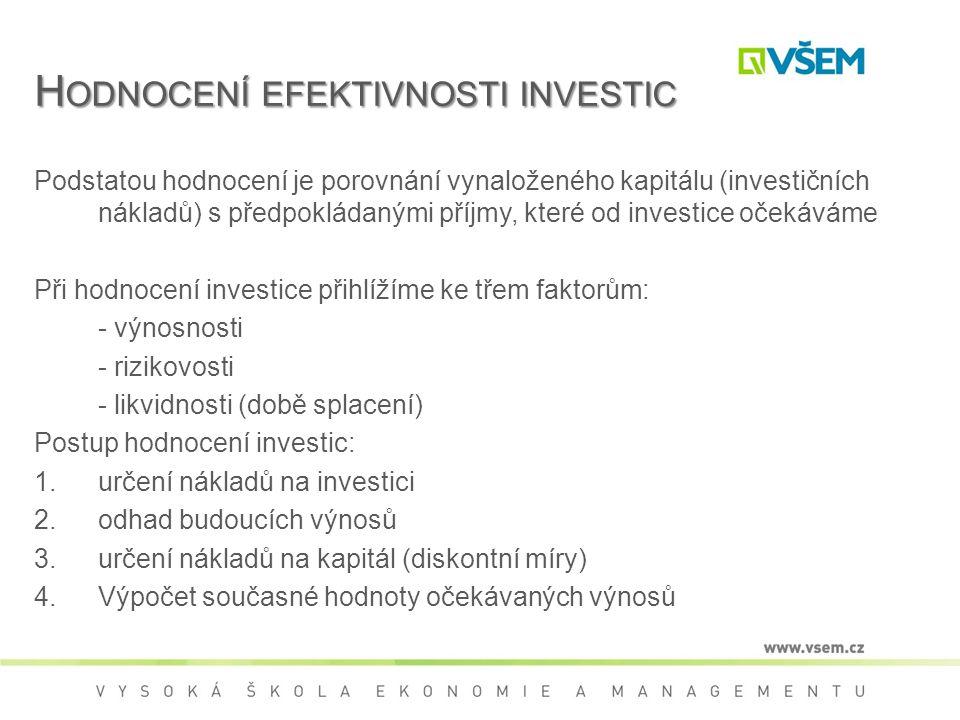 Hodnocení efektivnosti investic