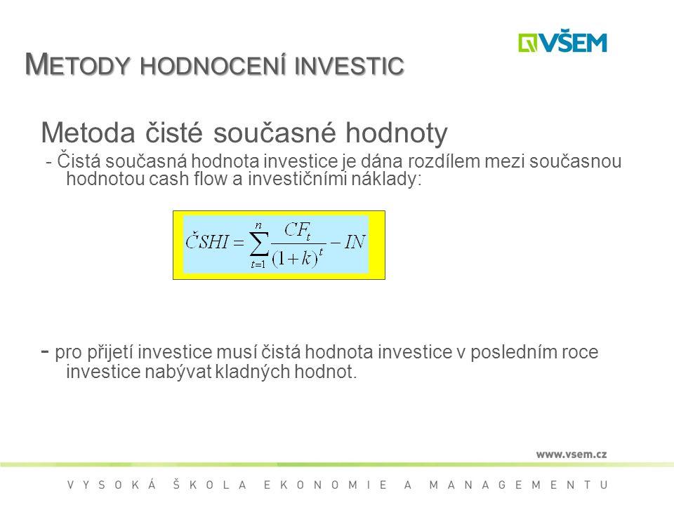Metody hodnocení investic