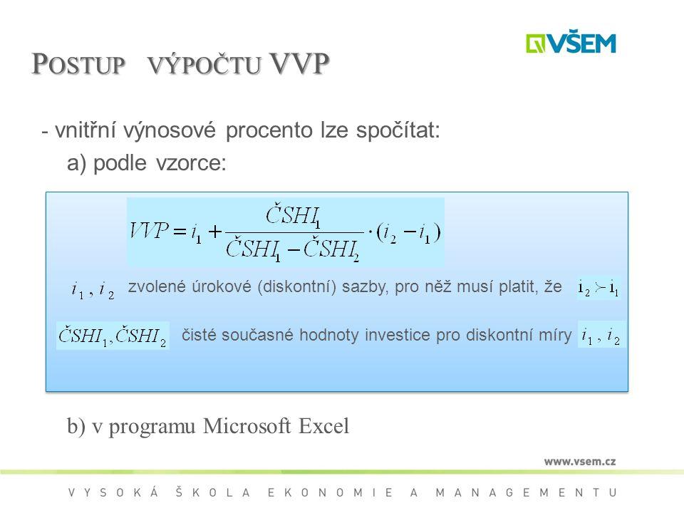 Postup výpočtu VVP - vnitřní výnosové procento lze spočítat:
