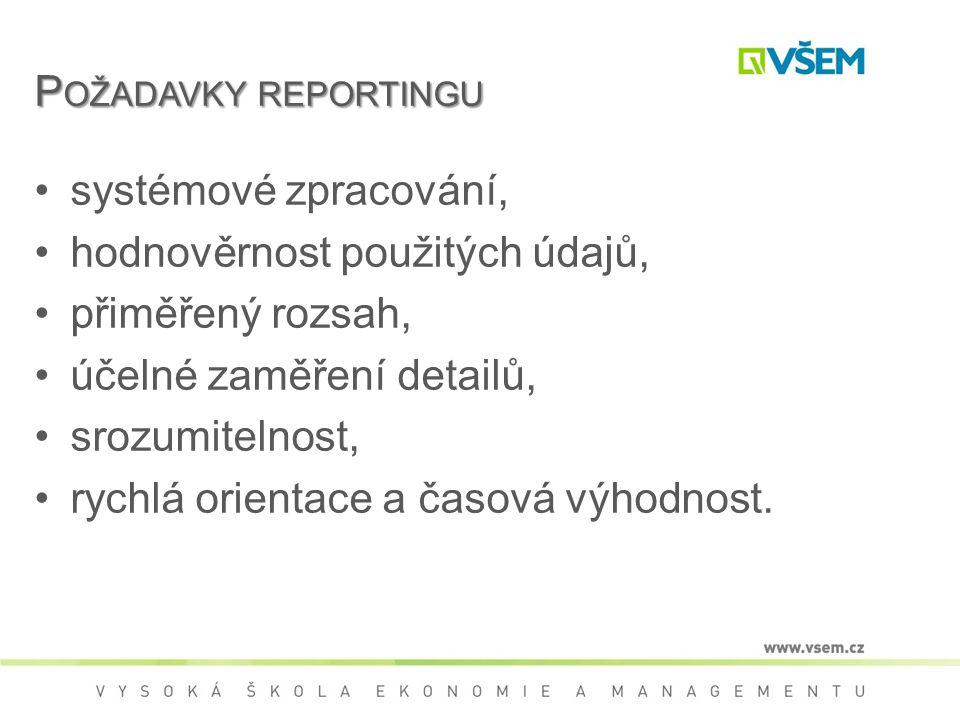 Požadavky reportingu systémové zpracování, hodnověrnost použitých údajů, přiměřený rozsah, účelné zaměření detailů,