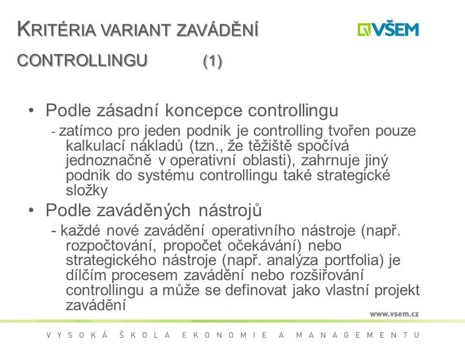 Kritéria variant zavádění controllingu (1)