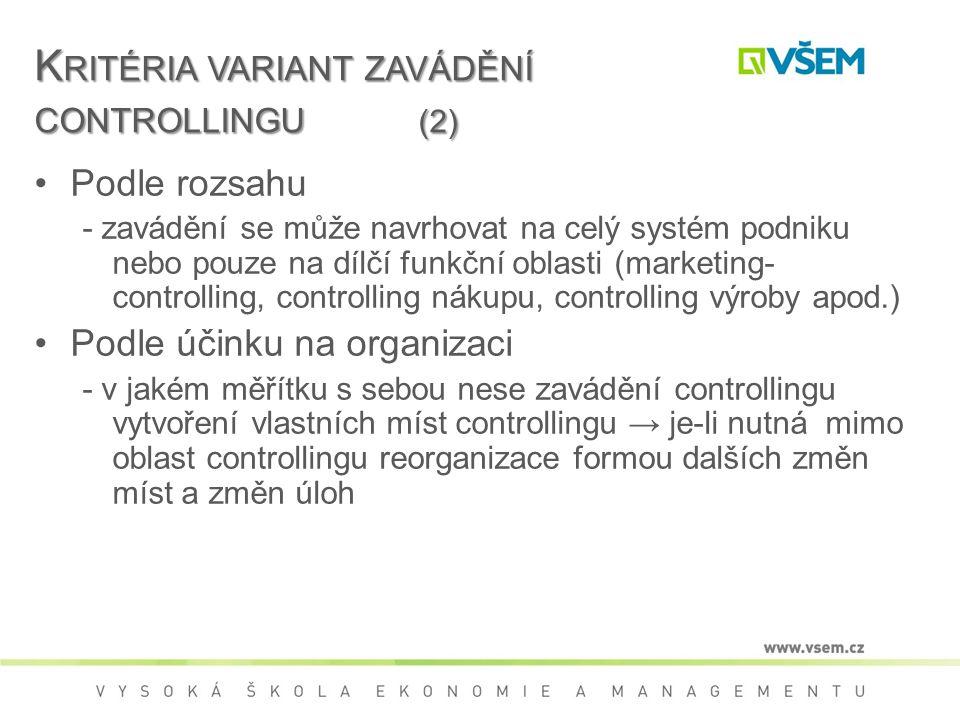Kritéria variant zavádění controllingu (2)