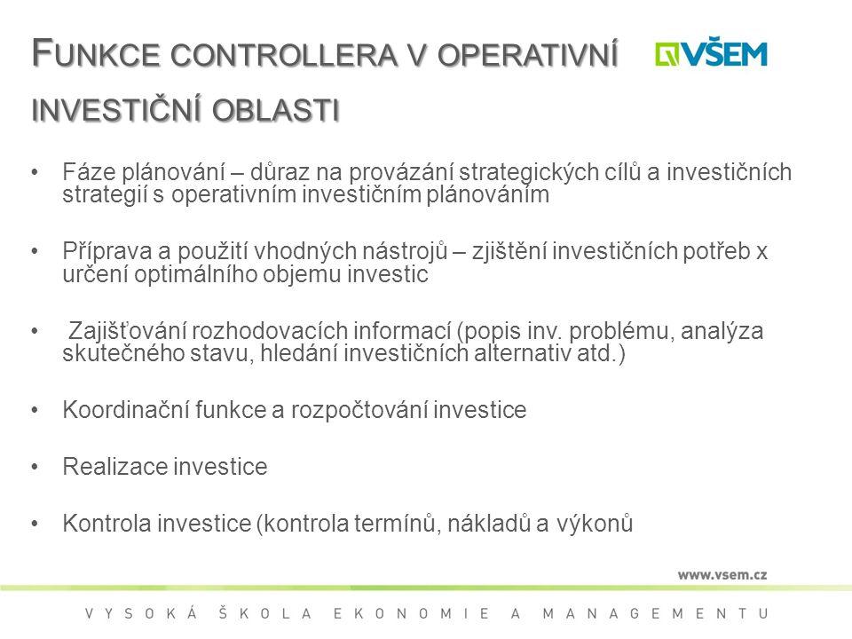 Funkce controllera v operativní investiční oblasti