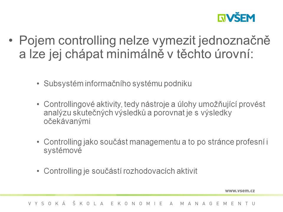 Pojem controlling nelze vymezit jednoznačně a lze jej chápat minimálně v těchto úrovní: