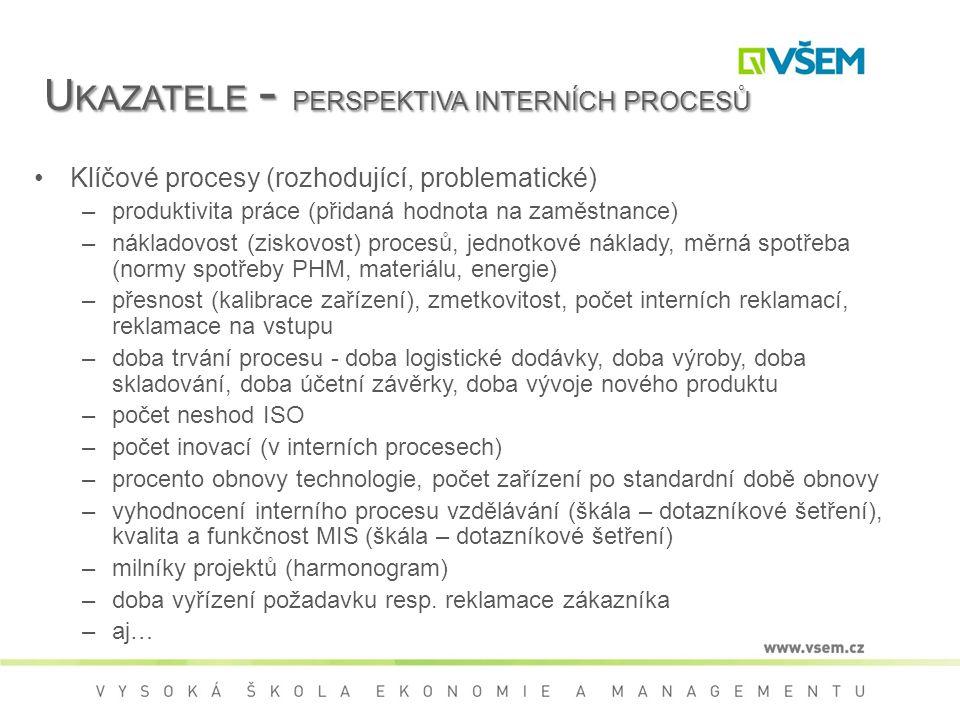 Ukazatele - perspektiva interních procesů