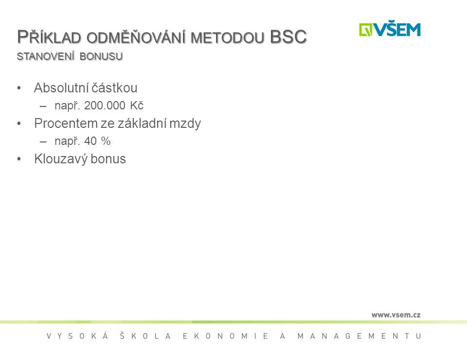 Příklad odměňování metodou BSC stanovení bonusu