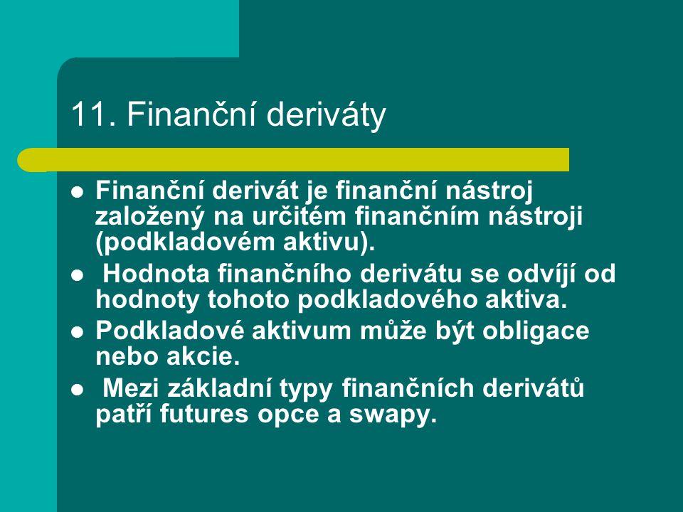 11. Finanční deriváty Finanční derivát je finanční nástroj založený na určitém finančním nástroji (podkladovém aktivu).