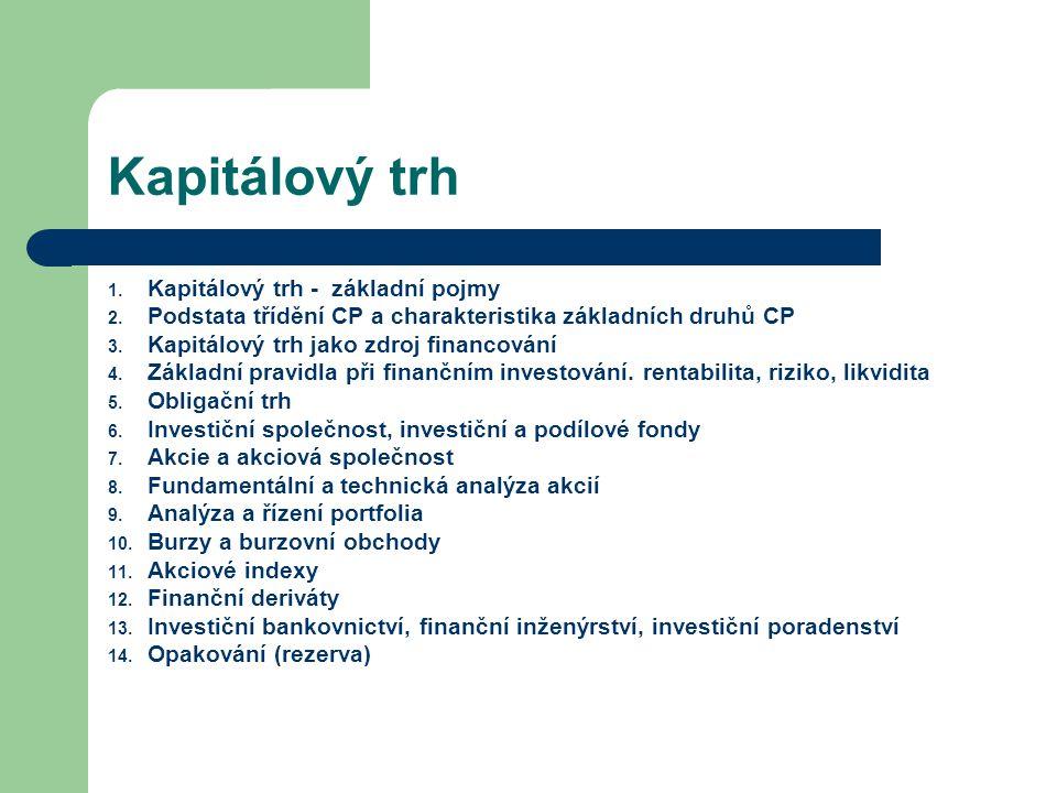 Kapitálový trh Kapitálový trh - základní pojmy