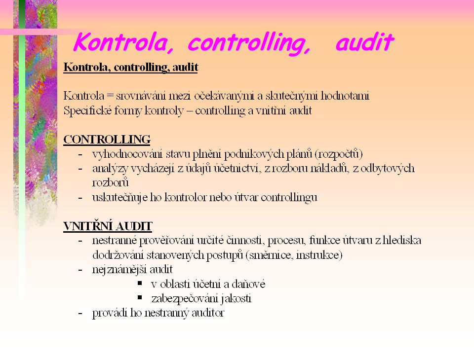 Kontrola, controlling, audit