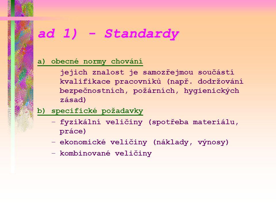 ad 1) - Standardy a) obecné normy chování
