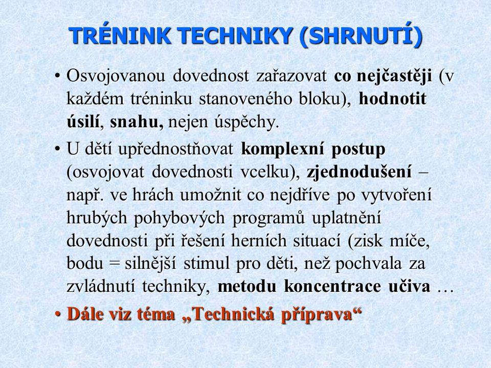 TRÉNINK TECHNIKY (SHRNUTÍ)
