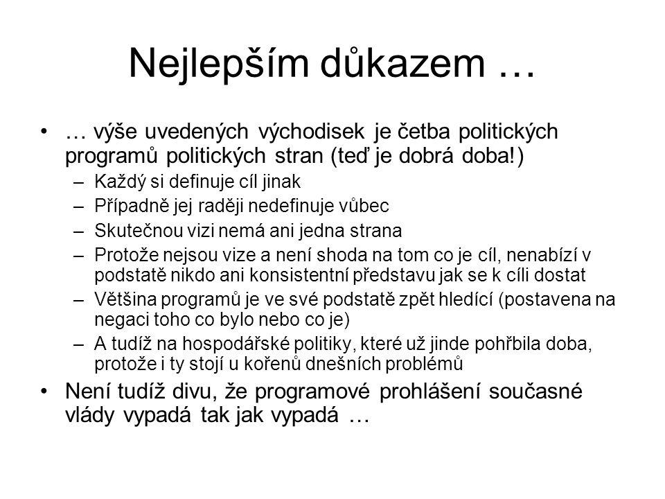 Nejlepším důkazem … … výše uvedených východisek je četba politických programů politických stran (teď je dobrá doba!)