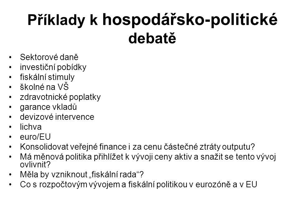 Příklady k hospodářsko-politické debatě