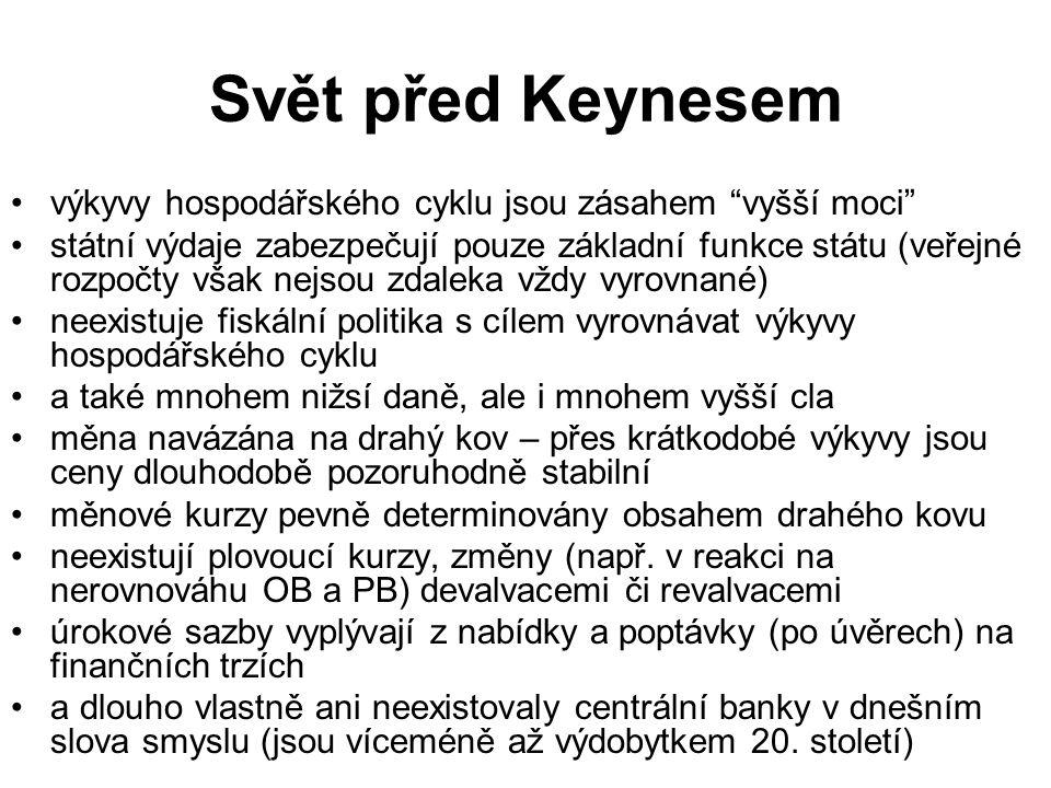 Svět před Keynesem výkyvy hospodářského cyklu jsou zásahem vyšší moci
