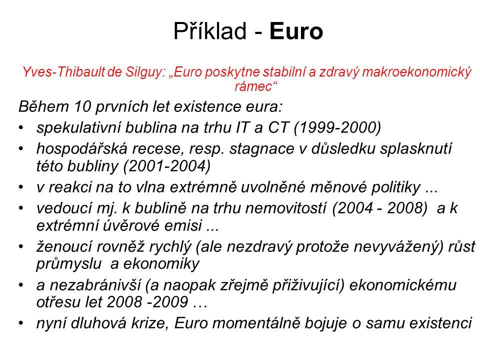 Příklad - Euro Během 10 prvních let existence eura:
