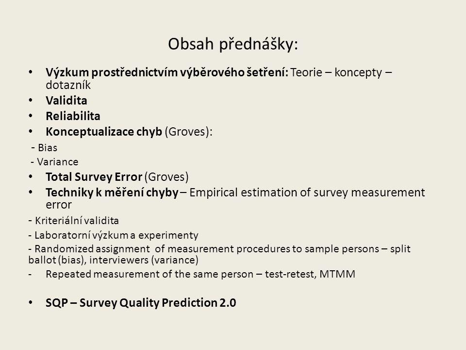 Obsah přednášky: Výzkum prostřednictvím výběrového šetření: Teorie – koncepty – dotazník. Validita.