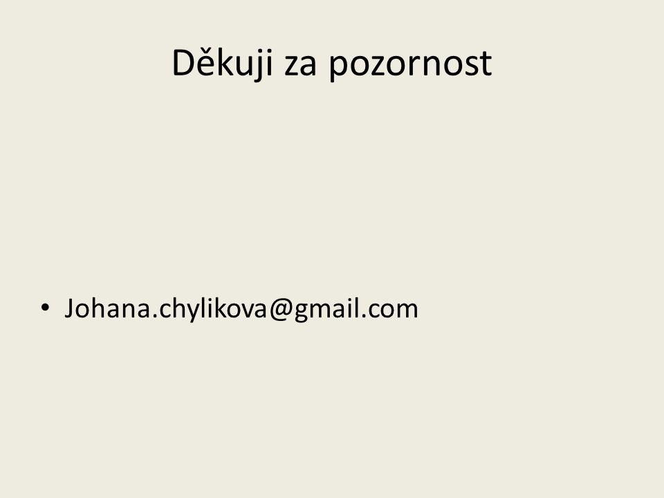 Děkuji za pozornost Johana.chylikova@gmail.com